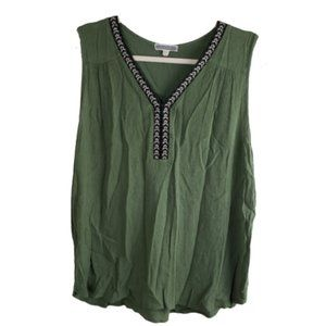 Anthro Pleione Green Sleeveless Blouse Size Small